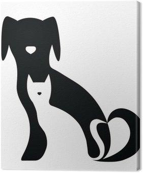 Canvas Grappige hond en kat silhouetten samenstelling