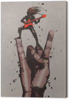 Canvas Grote hand in de rock n roll tekenen met gitarist, illustratie painting