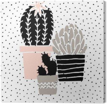 Canvas Hand Getrokken Cactus Poster