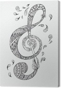 Canvas Handgetekende muziek sleutel met etnische ornamenten doodle patroon. Vector illustratie Henna Mandala Zentangle stylized voor cover van het boek of kaart, tattoo meer. Ontwerp voor geestelijke ontspanning voor volwassenen.