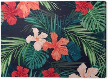 Canvas Heldere kleurrijke tropische naadloze achtergrond met bladeren en
