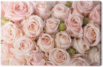 Canvas Heldere roze rozen achtergrond