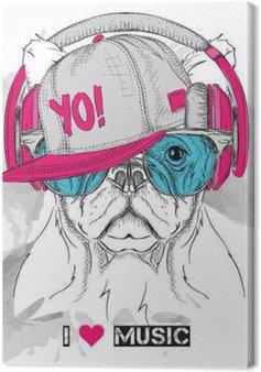 Canvas Het beeld van de hond in de glazen, hoofdtelefoons en hip-hop hoed. Vector illustratie.
