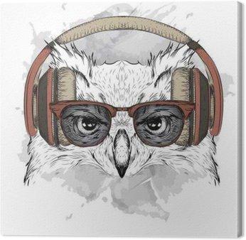 Canvas Het beeld van de uil in de glazen en hoofdtelefoon. Vector illustratie.