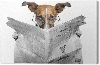 Canvas Hond lezen van een krant