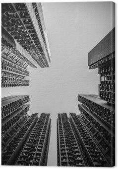Canvas Hong Kong stadsbeeld zwart en wit Tone