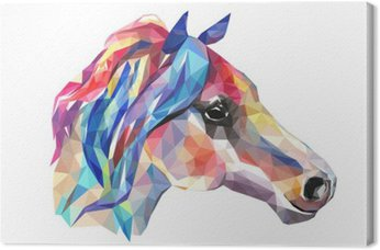 Canvas Hoofd van het paard, mozaïek. Trendy stijl geometrische op een witte achtergrond.