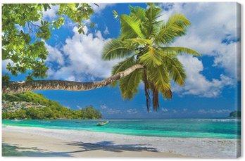 Canvas Idyllisch tropisch landschap - Seychellen