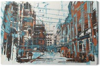 Canvas Illustratie schilderij van stedelijke straat met grunge textuur