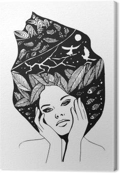 Canvas __illustration, grafisch zwart-wit portret van vrouw