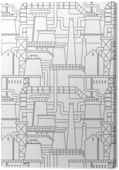 Canvas Industriële stad patroon
