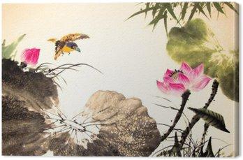 Canvas Inkt lotus schilderij hand getekende