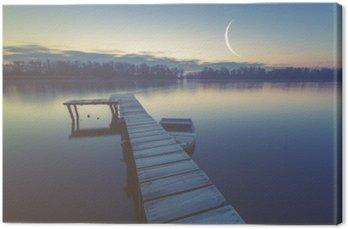 Canvas Jachthaven aan het meer, boten afgemeerd aan een houten pier, retro kleuren