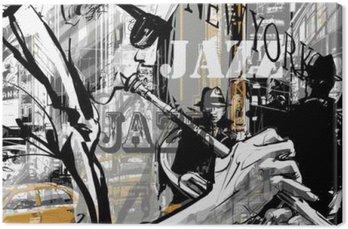 Canvas Jazz trompettist in een straat van New York