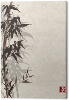 Canvas Kaart met bamboe op vintage achtergrond in sumi-e stijl. Hand-getekend met inkt. Bevat hiëroglief - geluk, geluk