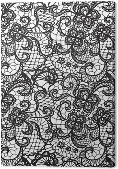 Canvas Kant zwarte naadloze patroon met bloemen op witte achtergrond