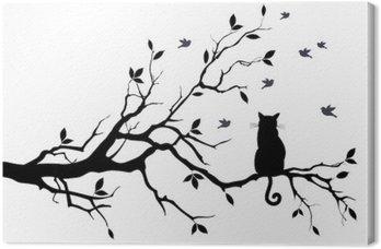 Canvas Kat op een boom met vogels, vector