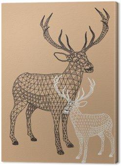Canvas Kerst rendieren met geometrisch patroon, vector
