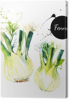 Canvas Keuken kruiden en specerijen banner. Vector illustratie. Waterverf