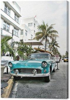 Canvas Klassieke Amerikaanse auto op South Beach, Miami