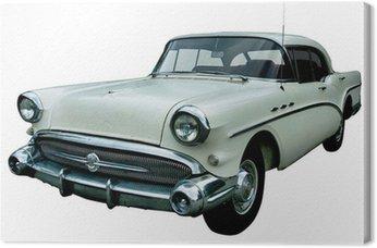 Canvas Klassieke witte retro auto geïsoleerd