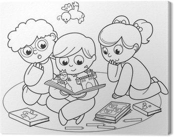 Fotobehang Kleurplaat illustratie van vrienden samen lezen van een ...