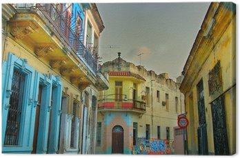 Canvas Kleurrijk Havana gebouwen
