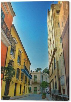 Canvas Kleurrijke gevels van de stad van Havana