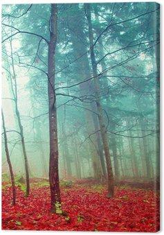 Canvas Kleurrijke mystieke herfst bomen