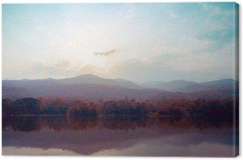 Canvas Landschap van het meer bergen in de herfst - vintage stijlen.