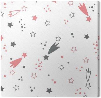 Canvas Leuk naadloos patroon met sterren. ruimte achtergrond