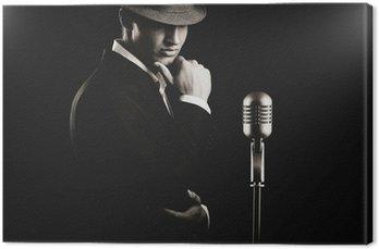 Canvas Low key portret van jazz-zangeres in de hoed in de duisternis.