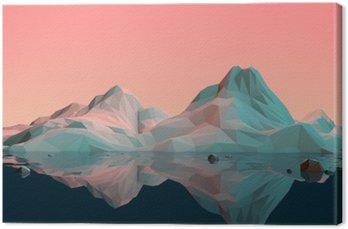 Canvas Low-Poly 3D Landschap van de berg met Water en Bezinning