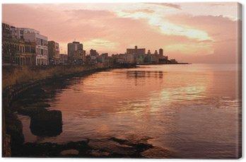Canvas Malecon bij zonsondergang. Havana (Cuba)