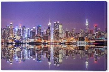 Canvas Manhattan Skyline met Reflections