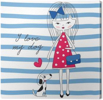Canvas Meisje met hond vector illustratie