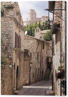 Canvas Middeleeuwse Italiaanse straat