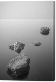 Canvas Minimalistisch mistige landschap. Zwart en wit.