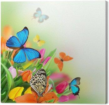 Canvas Mooi boeket van tulpen