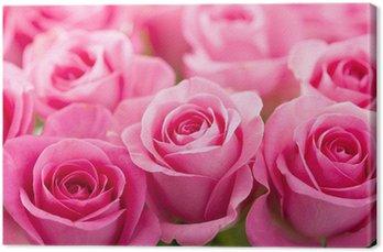 Canvas Mooie roze roos bloemen achtergrond