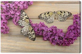 Canvas Mooie vlinders en lila bloemen, op houten achtergrond