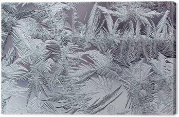 Canvas Mooie winter ijzige patroon gemaakt van brosse transparante kristallen op het glas