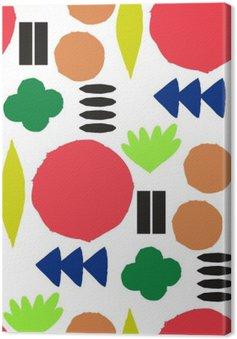 Canvas Naadloos patroon met grafische geometrische elementen
