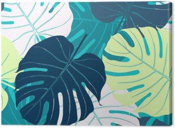 Canvas Naadloos patroon met palmbladeren