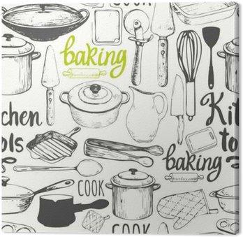 Canvas Naadloze achtergrond met keukenapparatuur en gereedschappen. Menu patroon.