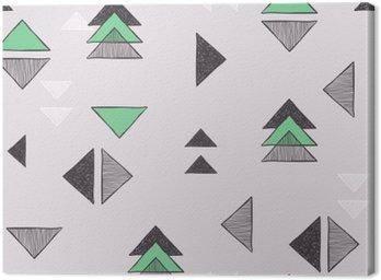 Canvas Naadloze hand getekende driehoeken patroon.