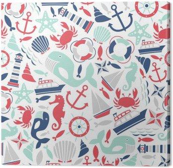 Canvas Naadloze patroon met zee iconen