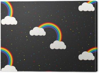 Canvas Nachtelijke hemel fantasie kid naadloos patroon. Star confetti, wolken en regenboog jongen grijs behang en stof design.