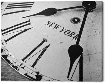 Canvas New York klok zwart en wit