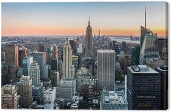 Canvas New York Skyline bij zonsondergang